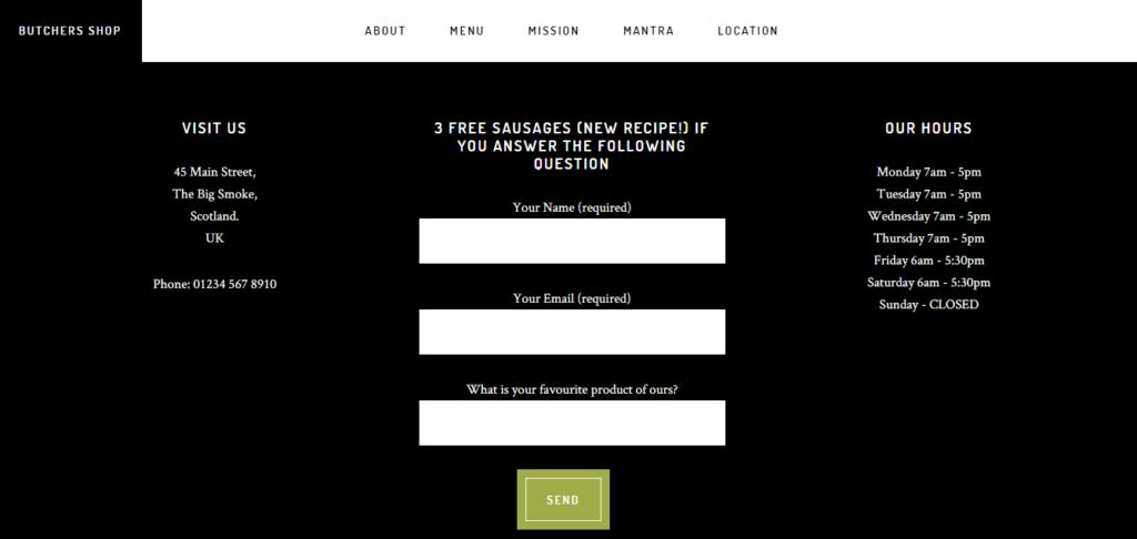 Screenshot of butchers form